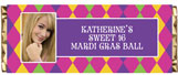 Mardi Gras personalized candy bar favors