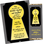 Murder Mystery Theme Invitations and Favors