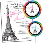 Paris theme invitations and party favors