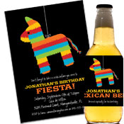 Fiesta pinata theme custom invitations and party favors