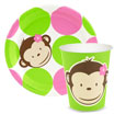 Pink and Lime Green Mod Monkey Theme plates and paper goods