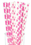 Pink and white polka dot paper straws