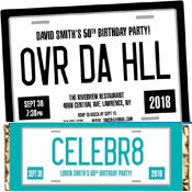 License plate invitations and party favors