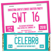 Sweet 16 license plate invitations, lollipops and favors