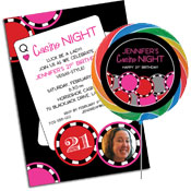 Pink poker chips invitations and favors