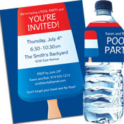 Patriotic popsicle theme invitation and favors