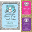 Chose your color princess invitation and favors