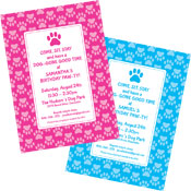 Puppy dog theme invitations and favors