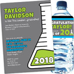 Science theme graduation invitations and party favors