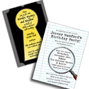 Mystery Theme Invitations and Favors