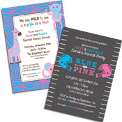 See all gender reveal theme invitations and favors