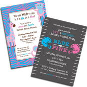 Gender reveal party invitations and favors