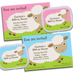 Baby sheet and baby lamb baby shower invitations and showers