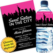 Skyline theme Sweet 16 invitations and party favors