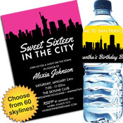 Skyline theme invitations and party favors