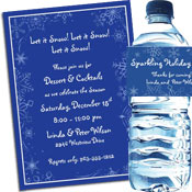 Snow theme winter holidays invitations and favors