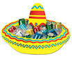 Inflatable sombrero drink holder