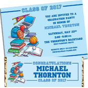 Sports theme graduation party invitations and favors