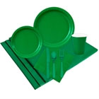 Green paper goods and party supplies