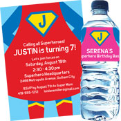 Superhero theme invitations and party favors