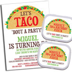 Taco Party Theme Invitations and Favors