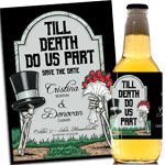 Grave, tombstone theme halloween party invitations and favors