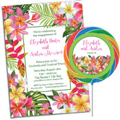 Tropical flower luau theme invitations and party supplies