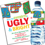 Ugly Sweater theme Christmas invitations and favors