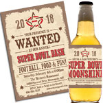 Western theme Super Bowl invitations and favors