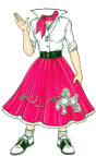 Poodle Skirt Woman Lifesize Cutout
