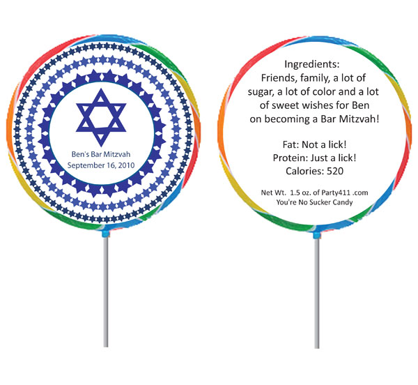 Custom Blue Star of David Bar Mitzvah Lollipop