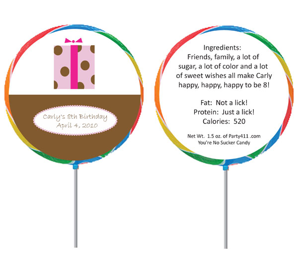 Custom Lollipop, Gift Theme