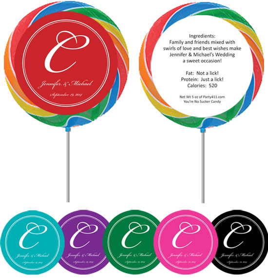 Monogram Party Favor Lollipop