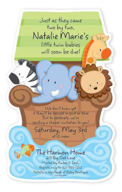 noah 39 s ark baby shower diecut invitation