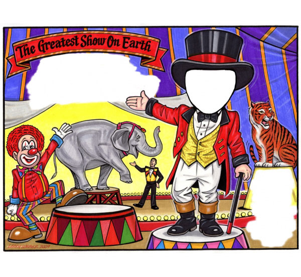 Circus Party Semi Custom Caricature Invitation