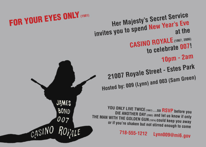 Personalized New Years Eve 007 Casino Royale Invitations Party411 – 007 Party Invitations