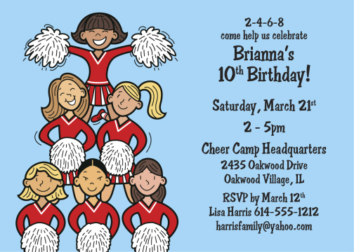 Cheerleading Birthday Party Invitations Personalized Cheerleading