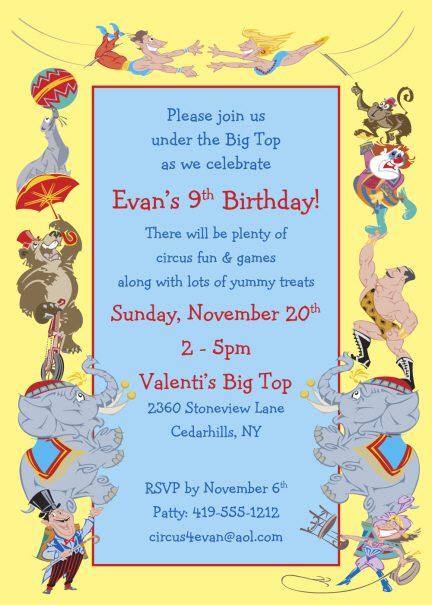 circus birthday party invitations personalized circus party, Party invitations