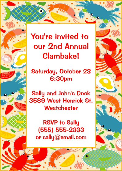 Clambake Party Invitations Personalized Candy Wrappers