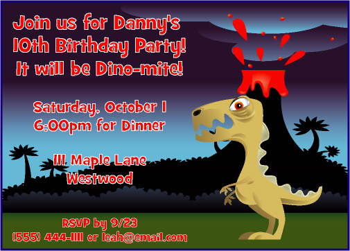 Dinosaur Theme Birthday Invitation