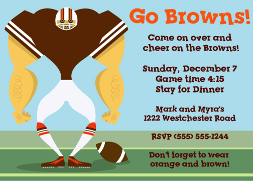 Football and Super Bowl Party Invitations Personalized Football ...