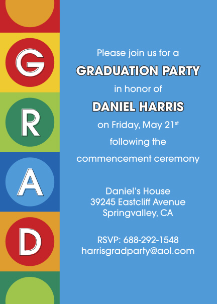 Colorful grad graduation party invitations personalized colorful custom graduation invitations filmwisefo