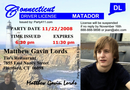 Connecticut Driver's License Invitation, Sweet 16