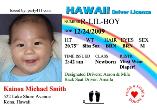 Personalized Drivers License Invitations and Birth Announcements – New Jersey Birth Announcements