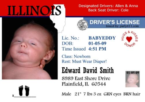 personalized driver 39 s license invitations and birth. Black Bedroom Furniture Sets. Home Design Ideas