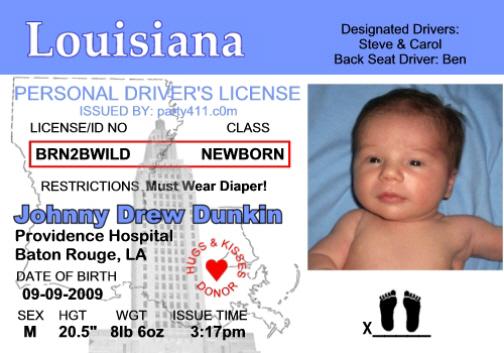Louisiana Driver's License Birth Announcement