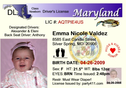 Personalized driver 39 s license invitations and birth for Md fishing license
