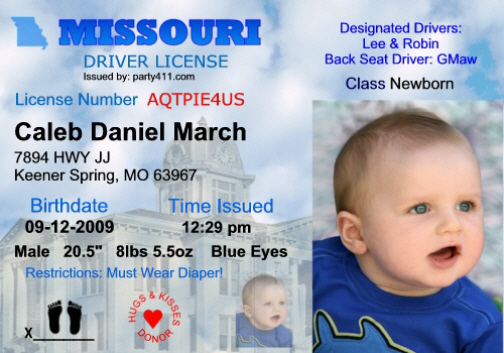 Personalized Announcements Driver's And Birth License Invitations