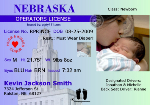 Personalized Driver's License Invitations and Birth ...