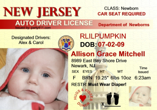 NJ Driver's License New Jersey http://www.party411.com/custom-license-announcement-new.jersey.html